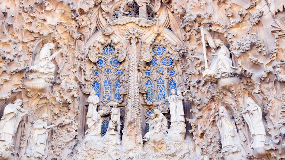 """Façade of the nativity"" of La Sagrada Familia. Barcelona"